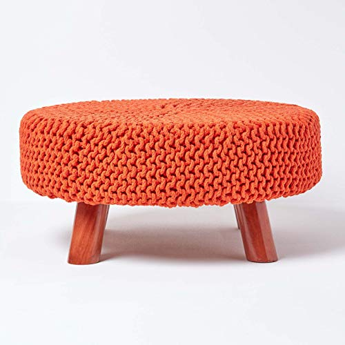 Homescapes Burnt Orange Pouffe & Footstool