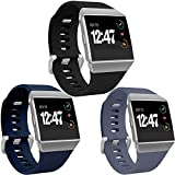 Wepro Bands Compatible with Fitbit Ionic SmartWatch, Watch Replacement Sport Strap for Women Men Kids, Large, Black, Navy Blue, Blue Gray