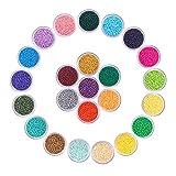 PandaHall 24 Cajas de Aproximadamente 40800 Piezas 13/0 Abalorios Multicolores Abalorios de Semillas de Vidrio 24 Colores opacos Abalorios Redondos de Poni Mini Abalorios espaciadores de 2,3 mm