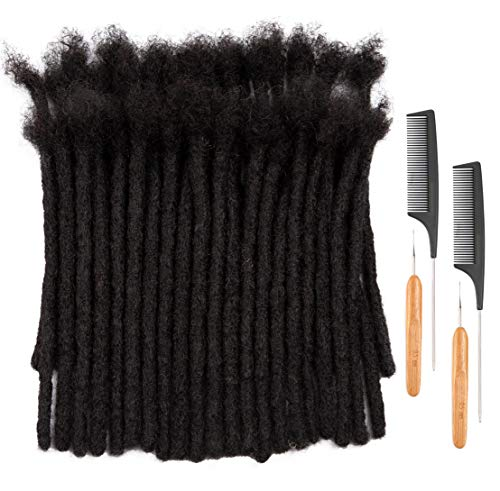 DAIXI 8-10 Inch 60 Strands 100% Real Human Hair Dreadlock Extensions for Man/Women Full Head Handmade 0.8cm Thickness Can Be Dyed and Bleached Dreadlocks Bulk with Needle and Comb (8 Inch 60 Strands, 1B)
