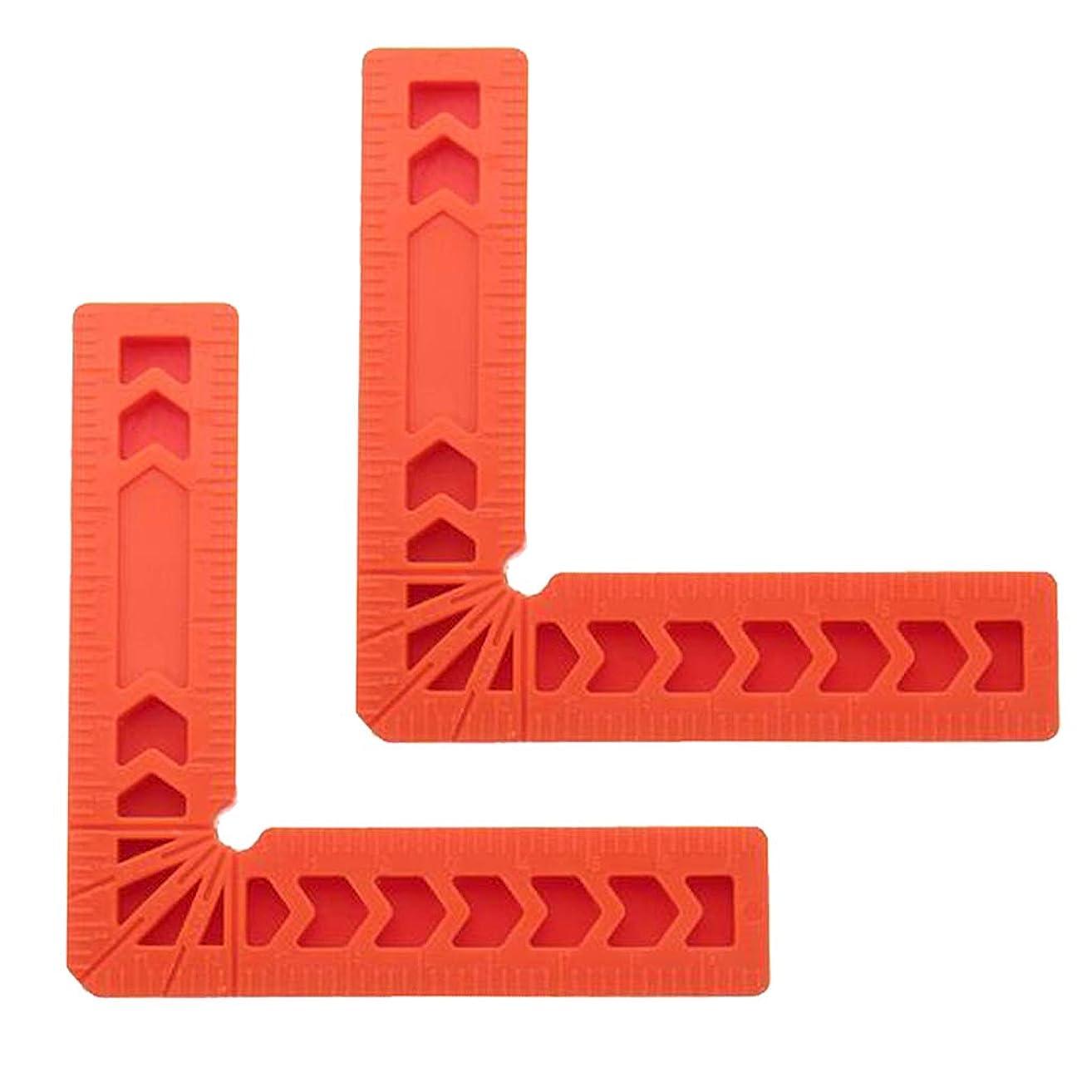 不公平害虫奇跡的なコーナークランプ 直角 90度 ルーラープラスチック オレンジ色2個