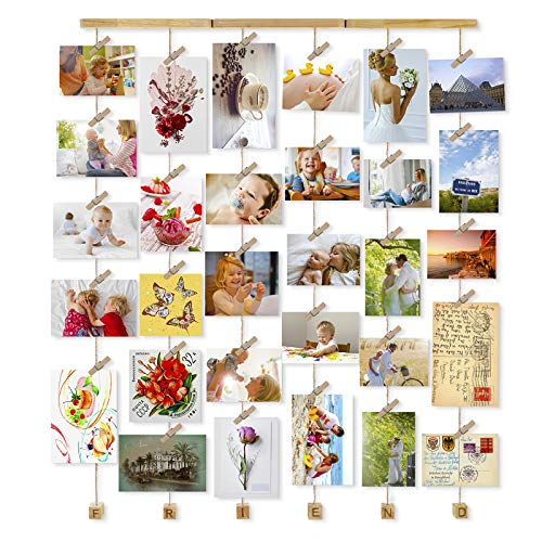 Love-KANKEI Wall Hanging Picture Frames 26 x 29inch with 30 Wooden Clips Wire Artworks Prints Cards Holder Organizer Collage Multi Photo Picture Display Friend Gift