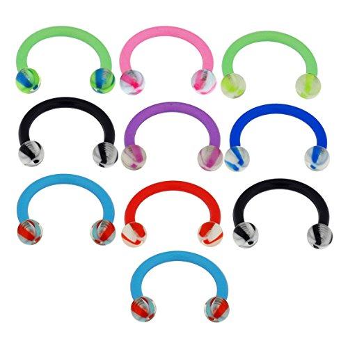 10 stuks verpakking uv-twister-ballen met flexibele bioplast circular barbell ringpiercing met 16 gauge
