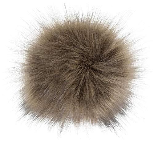 styleBREAKER Kunstfell Bommel für Mützen und Beanies, Fake Fur, Winter Fellbommel 04024161, Farbe:Beige-Braun