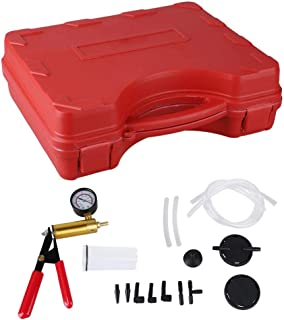 GOTOTOP Hand Held Vacuum Pump Tester Set Vacuum Gauge and Brake Bleeder Kit for Automotive&Motorbike Bleeding with Adapters, Case