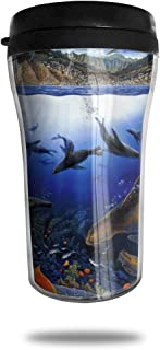 FTRGRAFE Sea Life HD Wallpaper Travel Coffee Mug 3D Printed Portable Vacuum Cup,Insulated Tea Cup Water Bottle Tumblers for Drinking with Lid 8.54 Oz (250 Ml)