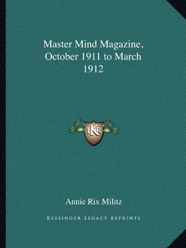 Master Mind Magazine, October 1911 to March 1912