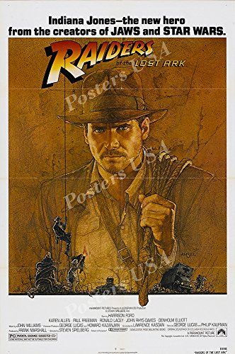Posters USA Indiana Jones Raiders of the Lost Ark Movie Poster GLOSSY FINISH - MOV057 (24' x 36' (61cm x 91.5cm))