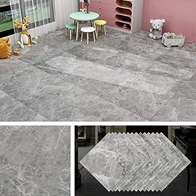 Livelynine Peel and Stick Floor Tile Grey 12X12 Inch 32 Pack Marble Look Vinyl Flooring Peel and Stick Tile Floor Stickers Tile for Kitchen Bedroom Farmhouse Wall Bathroom Flooring Waterproof