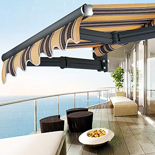 LZPQ Toldo Manual Plegable de Aluminio Manivela Impermeable Protección Solar UV Ajustable...