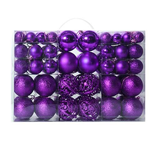 KOET Lot de 100 boules de Noël incassables à suspendre pour sapin de Noël avec différentes tailles et caractéristiques mates, miroir, paillettes, base émaillée