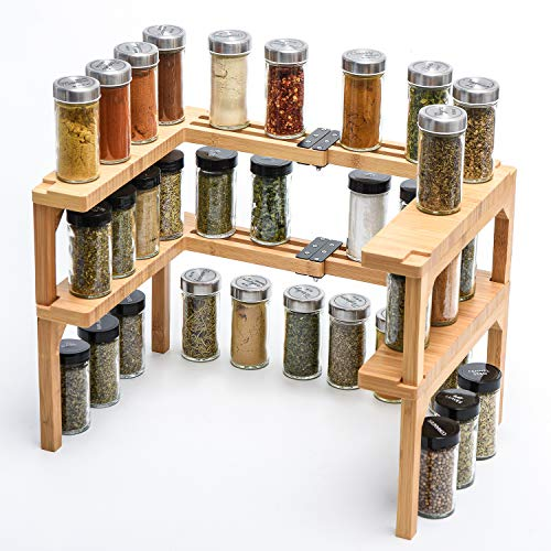 Bamboo Expandable Spice Rack - 2 Tier Stackable Spice Rack Organizer for Kitchen Cabinet, Pantry, Shelf Organizer (1 Set of 2 shelves) - Ideal for Spice Bottles, Jars, Seasonings, Light Bamboo