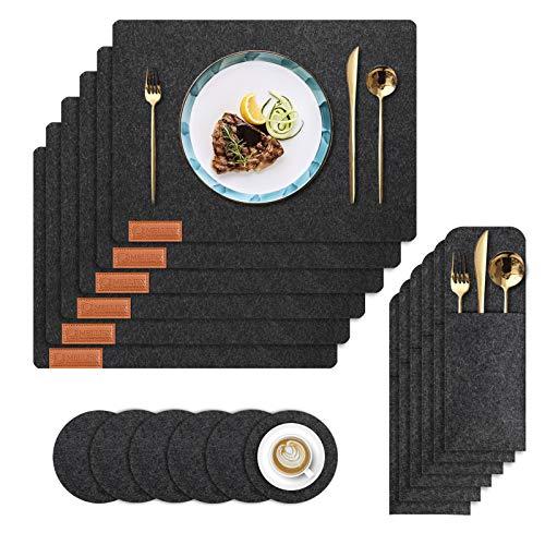 MELLIEX Manteles Individuales de Fieltro, 6 Sets Salvamanteles Individual Lavable con Posavasos y Bolsas de Cubiertos para la Mesa de la Cocina