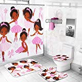 Kids Shower Curtain Set with Non Slip Bath Mats and...