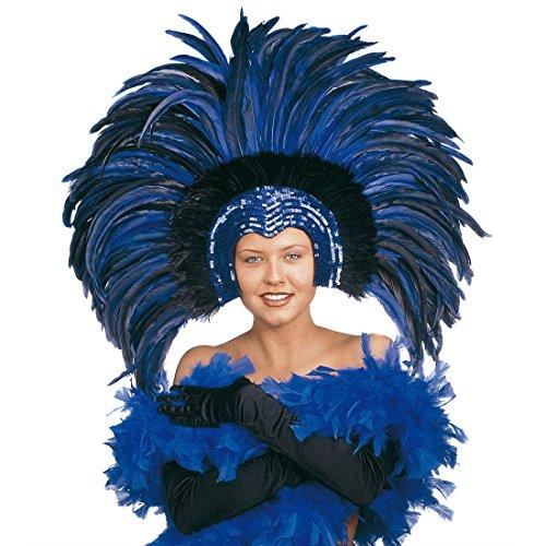 NET TOYS Grand Masque A Plumes Vénitien Colombine Masque Rio Bleu Samba Plume Bijou de Cheveux Coiffe Brésilien Masque de Bal Carnaval Danseuse Loup Venise Bal Masqué Accessoire