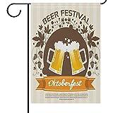 fingww Fahne Ative Oktoberfest Festival Herbst Blätter Flagge Zwei Glaskrug Bier Fahnen Willkommen Doppelseite Outdoor Urlaub Drucken 32X48 cm Garten Flagge Banner Decoratio Außerhalb