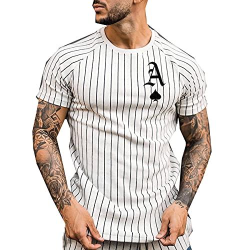 Camiseta para Hombre, Camiseta A Rayas, Ropa De Calle De Verano, Camiseta con Cuello Redondo, Camiseta con Estampado De A La Moda