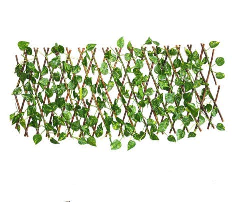 A&H Retractable Faux Fence Artificial Garden Fence Expandable Gardening Plant Wood Vines Climbing Frame Home Decorations