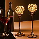 Queta Kerzenständer Kristall Kerzenhalter Vintage 2er Set für Stumpenkerzen, Wohnzimmer Kristall Deko, Tischdeko Hochzeit Weihnachten Geburtstag 32cm&37cm Höhe (Gold) - 7
