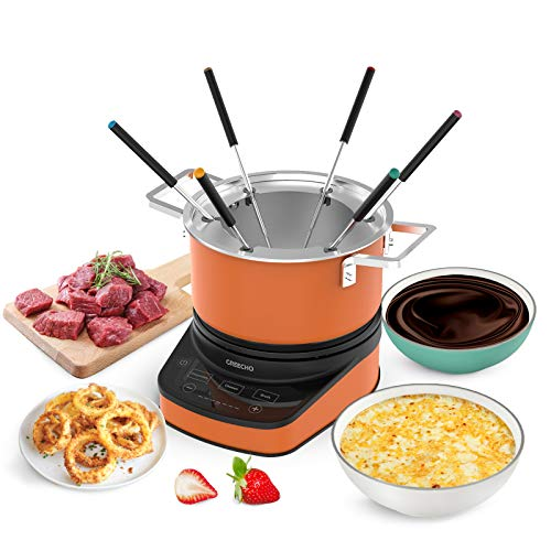 GREECHO Digital Electric Fondue Set — 3.2 Quart Fondue Pot of Stainless Steel Cookware With...