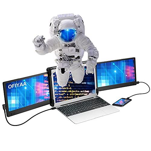 OFIYAA P2 Tragbarer Monitor für Laptop Bildschirm,Tragbarer Monitor für Notebook Bildschirm für Dual Monitor Display,Kompatibel mit 13''-16'' Mac PC/Notebook 11.6'' Display FHD IPS HDMI