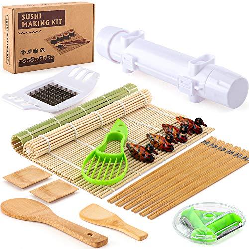 IOOLEEM All-In-One Bazooka Sushi Maker, Bamboo Sushi Mat, beginner's ideal first Sushi making kit, premium bamboo complete sushi making set