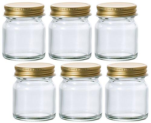 アデリア ガラス 保存瓶 50ml<br /></noscript>金キャップ多様びん 6個セット 日本製 M-6517
