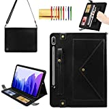 Handbag Case for Samsung Galaxy Tab S7 Plus (2020), Techcircle Folio Stand Crossbody Wallet Case with Pen Holder & Card Slots Thin Pocket, Built-in Hand Strap & Shoulder Strap, Auto Wake/Sleep, Black