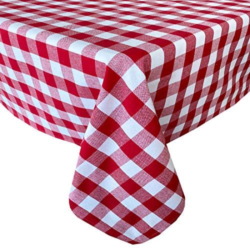 Newbridge Buffalo - Mantel de algodón rústico para interiores y exteriores, diseño de cuadros de granja, 150 x 200 cm, ovalado, color rojo