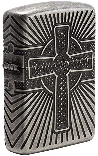 Zippo Armor Celtic Cross Design Pocket Lighter, Silver, One Size