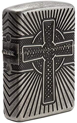Zippo Celtic Cross Design, Accendino Antivento Unisex-Adulto, Argento Anticato, Standard