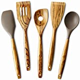5 Piece Olive Wood Kitchen Cooking Utensils, Silicone Spoon and Spatula, Slotted Turner, Flat...