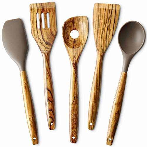 5 Piece Olive Wood Kitchen Cooking Utensils, Silicone Spoon and Spatula, Slotted Turner, Flat Turner, Corner Spoon …