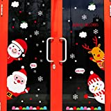 Reyqing Decoraciones De Navidad Tatuajes De Pared Con Ventana De Vidrio Adhesivos Santa Snowman Puerta Corrediza Pegatinas Gift Set,Welcome Puerta De Navidad Adhesivos