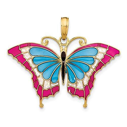 Saris and Things 14k gelbgold blau-buntglas-flügel-Schmetterlings-anhänger mit acryl