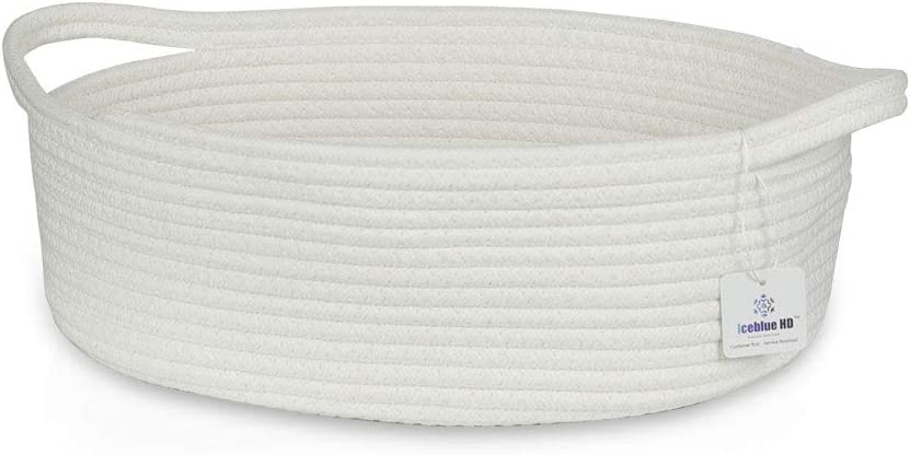 ICEBLUE HD White Storage Basket 100% Natural Cotton Rope Storage Boxes Toy Bins Childrens Room Decor