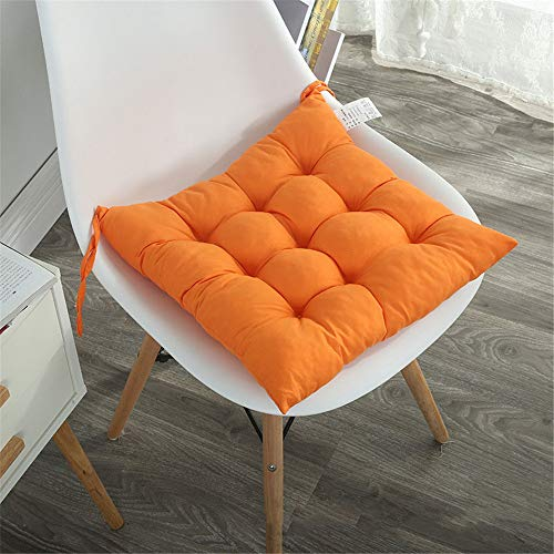 WATSON DAN Seat Cushion Chair Cushions Tatami Square Chair Cushions Plain Warm Chair Cushion for Home Office Set of 2 40 x 40 cm, Orange, 40 x 40 cm