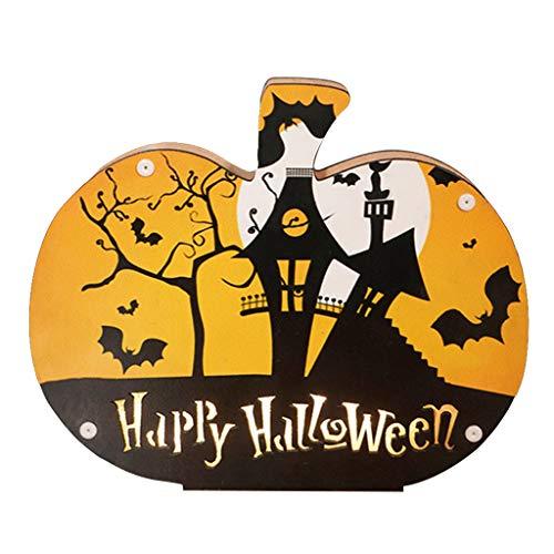 catyrre Halloween Atmosphäre LED-Licht, Holz Nachtlicht Lampendekorationen, Home Bar Party Dekor Props