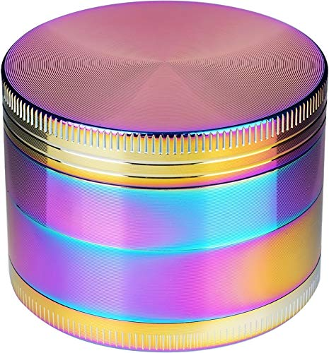 Herb Grinder with Magnetic Lid Pollen Screen and Pollen Scraper 4-Piece 2'(Colorful)