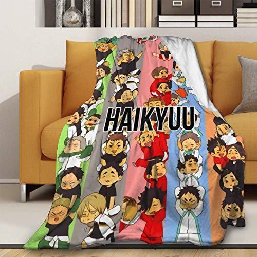 Haik-yuu!!Manta de franela suave de forro polar, manta ligera para aire acondicionado, manta de noche de película, manta de cama de 127 x 101 cm