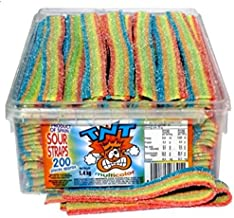 TNT Rainbow Sour Straps 200 Count 1.4kg Bulk Sugar Coated Belts For Kids Birthday Party Hens Party Baby Shower Halloween L...