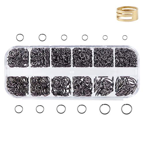 PandaHall Acerca de 820 Anillos de Hierro Abiertos, 6 tamaños, 4/5/6/7/8/10 mm, Conectores Redondos de Metal plomizo, unión de joyería con Anillo de Herramienta Asistente para joyería