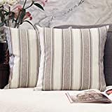 JOJUSIS Stripe Throw Pillow Covers Farmhouse Pillowcases Pack of 2 20 x 20 Inch Grey