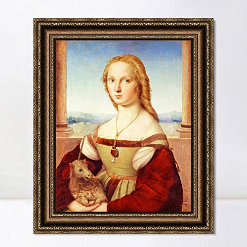 "INVIN ART Framed Canvas Art Giclee Print Series#077 by Raphael/Raffaello Sanzio Wall Art Living Room Home Office Decorations(Vintage Embossed Gold Frame,20""x24"")"