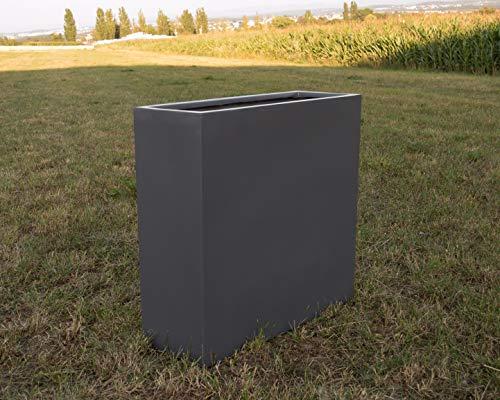 Eleganteinrichten Blumenkübel Blumentrog Pflanztrog Pflanzkübel Fiberglas als Raumteiler 108x40x100cm anthrazit-metallic.