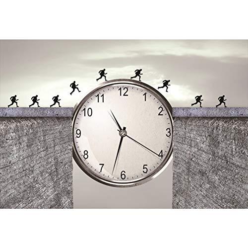 YongFoto 3x2m Vinyl Foto Hintergrund Das Rennen gegen die Zeit Hintergrund Große Uhr zwischen der Brücke Kunstwerk Fotografie Leinwand Hintergrund Partydekoration Fotostudio Hintergründe Fotoshooting