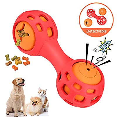 WINGPET Interactive Dog Chew Toys - Treat Dispensing & Squeaky Balls Rubber Dog Toys, 2-in-1 Set for Small Dogs Puppy, Tough and Durable Rubber, Great for Pets Funny Training and Exercising