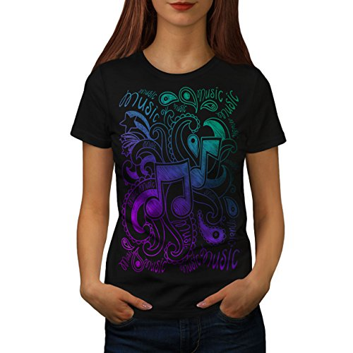 wellcoda Musical Ornament Frau T-Shirt Klingen  Lässiges Design Bedrucktes T-Shirt