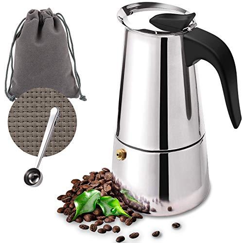 O'woda Cafetera Italiana Inducción, 4 tazas 200ml Cafetera Moka de Acero Inox, Cafetera Espressos Con Posavasos, Cucharas, Perfecta para Uso Doméstico y en la Oficina, Plata
