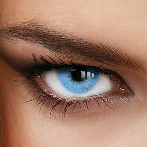 Farbige Jahres-Kontaktlinsen Naturally Sweet Sapphire - OHNE Stärke in HELLBLAU - von LUXDELUX® - (+/- 0.00 DPT)